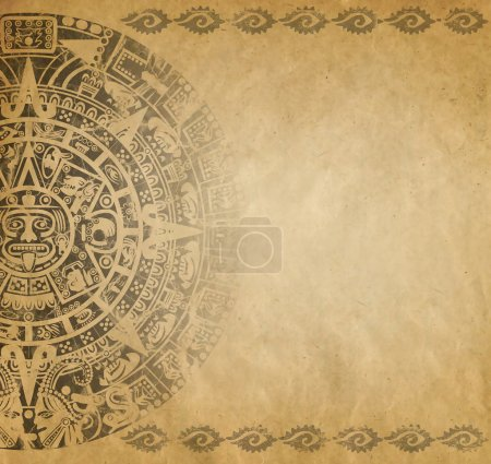Photo for Background in American Indian Style with Mayan calendar on old paper - Royalty Free Image