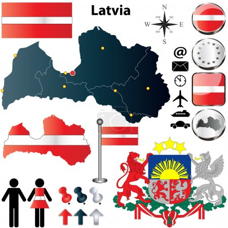 Vector set of Latvia country shape with flags, but...