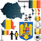 Vector set of Romania country shape with flags buttons and icons isolated on white background