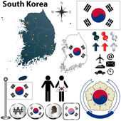 Vector of South Korea set with detailed country shape with region borders flags and icons