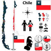 Vector of Chile set with detailed country shape with region borders flags and icons
