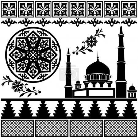 Illustration pour Vecteur de différents motifs islamiques sur fond blanc - image libre de droit