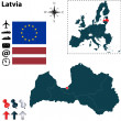 Vector set of Latvia country shape with flags, ico...