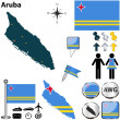 Vector of Aruba set with detailed country shape wi...