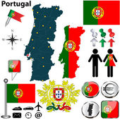 Vector set of Portugal country shape with flags buttons and icons isolated on white background