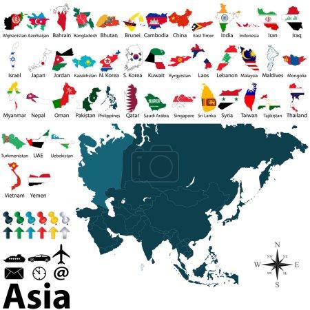 Illustration pour Cartes politiques vectorielles avec drapeaux de l'Asie sur fond blanc - image libre de droit