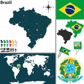 Vector map of Brazil with regions coat of arms and location on world map