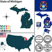 Map of state Michigan USA
