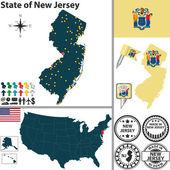 Map of state New Jersey USA