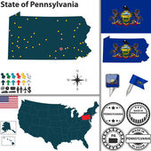 Map of state Pennsylvania USA
