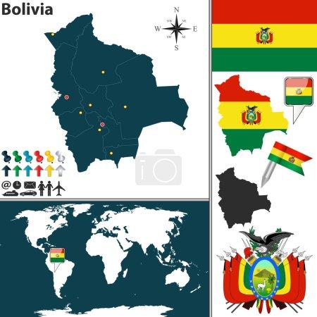 Illustration pour Carte vectorielle de La Bolivie avec les régions, les armoiries et l'emplacement sur la carte du monde - image libre de droit