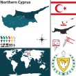 Vector map of Northern Cyprus with regions, coat o...