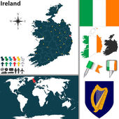 Vector map of Ireland with regions coat of arms and location on world map