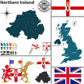 Vector map of Northern Ireland with coat of arms and location on United Kingdom map