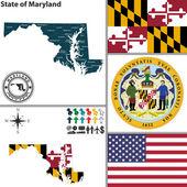 Map of state Maryland USA