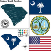 Vector set of South Carolina state with flag and seal