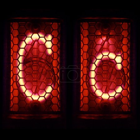 """Photo for Nixie tube indicator set of letters the whole alphabet. The letter """"C"""". - Royalty Free Image"""