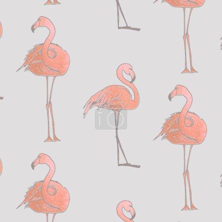 Seamless pattern of pink flamingos