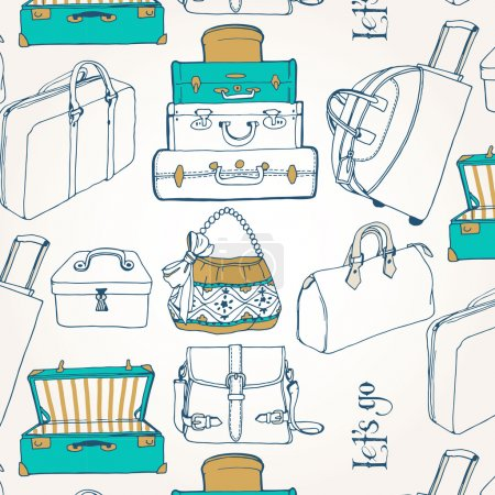 Illustration for Seamless pattern with a lot of bags and suitcases - Royalty Free Image