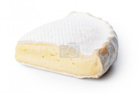 Slice of brie cheese on white background. Isolated...