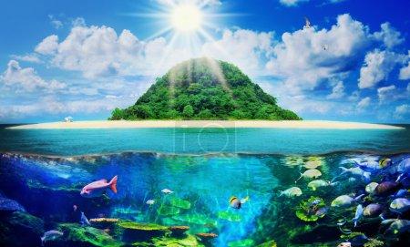 Foto de Hermosa playa tropical soleado en la paradisíaca isla en medio del mar - Imagen libre de derechos