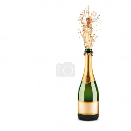 Photo for Bottle of champagne with splash isolated on white - Royalty Free Image