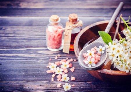 Spa. Aromatherapy essential oils, flowers, sea salt. Spa set