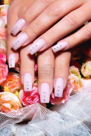 Photo pour Femelle des mains, ongles avec belle manucure art - image libre de droit