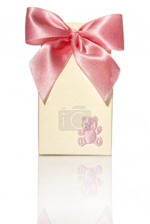 Gift Box With Pink Ribbon And Bear
