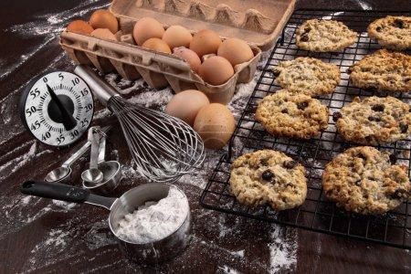 Freshly baked raisin and oatmeal cookies