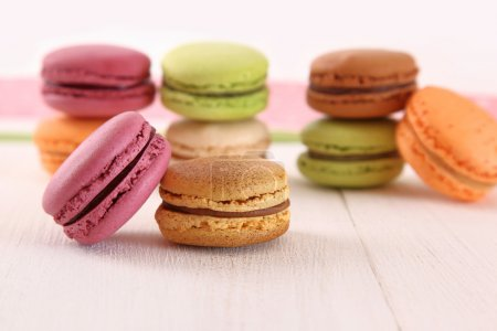 Photo for Colorful macaroons on table - Royalty Free Image