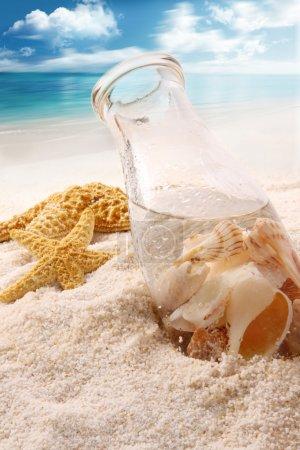 Foto de Botella con conchas en la playa - Imagen libre de derechos