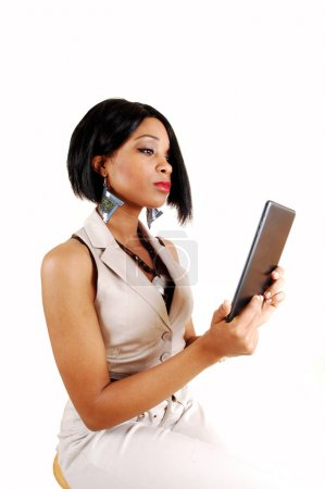Business woman with tablet.