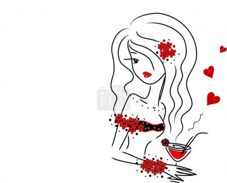 Illustration for Cute girl with a drink in love - Royalty Free Image