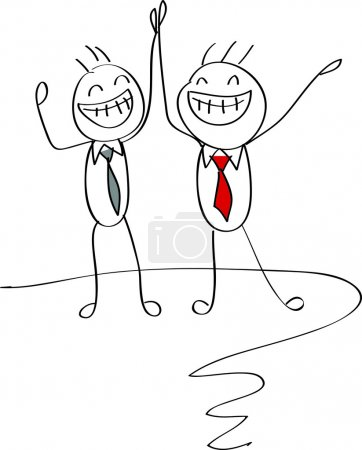 Businessmen celebrating a success giving each other a high five