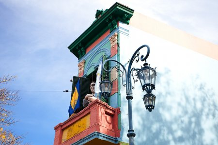 Colorful building in the La Boca neighborhood of Buenos Aires,Ar