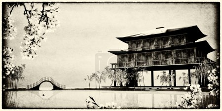 Photo for Design of the Chinese ink painting for adv or others purpose use - Royalty Free Image