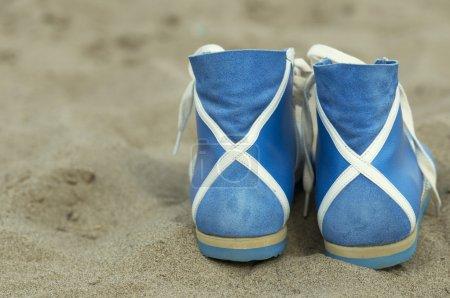 foot-gear on the beach