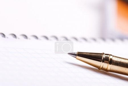 Photo for Selective focus on nearest part of golden pen - Royalty Free Image
