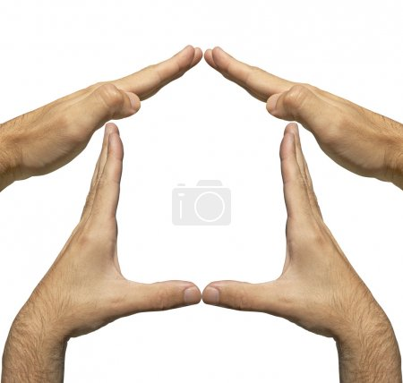 hands of the man made a home shape