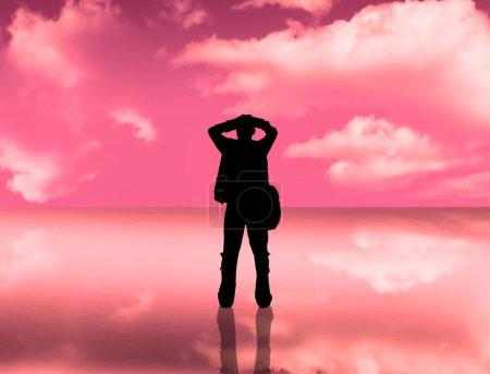 Photo pour Silhouette homme - image libre de droit