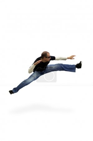 jumping isolated man