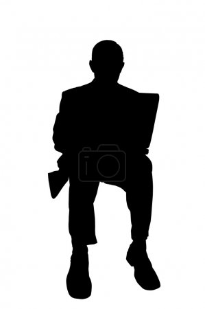 Businessman silhouette with laptop