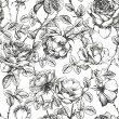 Floral seamless pattern with hand drawn roses...