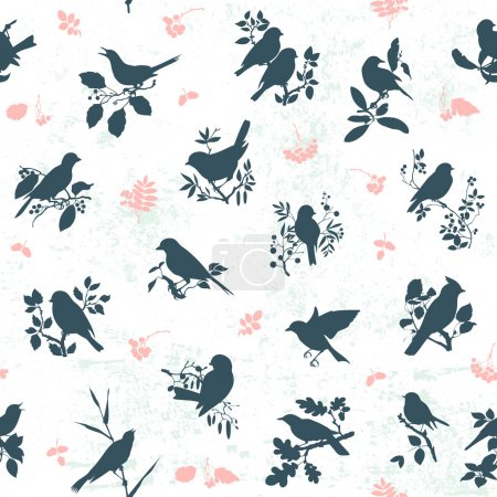 Illustration for Seamless pattern background with songbirds silhouettes - Royalty Free Image