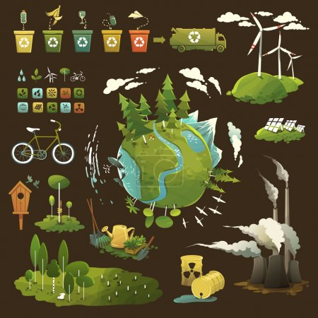 Thematic illustrations for environmental movement ...