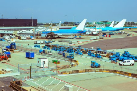 Servicing trucks and planes in the airport