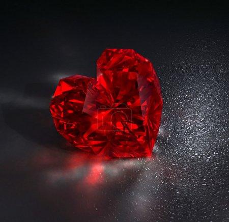 Chrystal ruby red gem stone in shape of heart