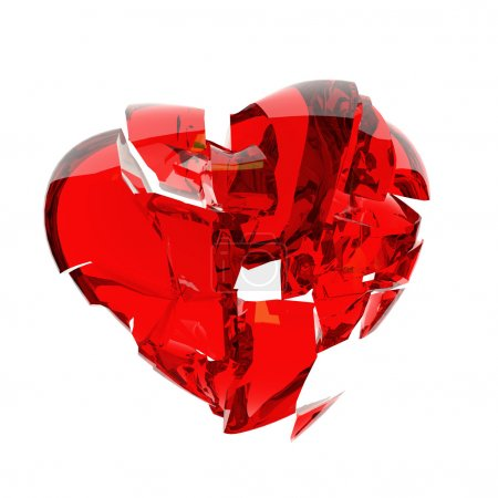 Photo for Red heart broken into peaces - Royalty Free Image