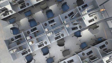 Photo pour Bureau moderne espace ouvert intérieur - image libre de droit